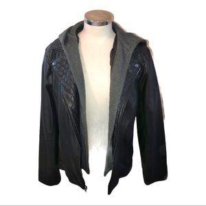 NWT Giacca vegan black grey Leather jacket XLARGE